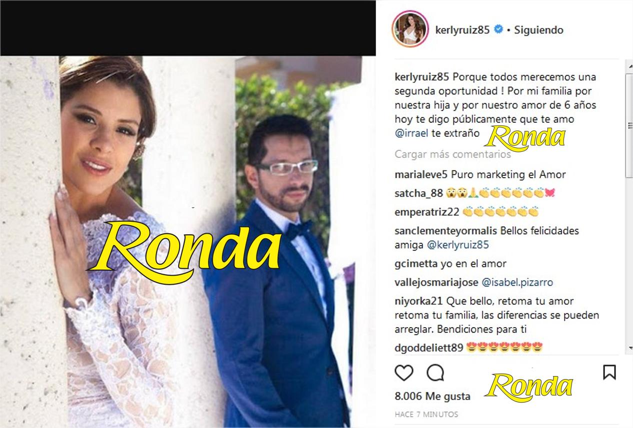 Kerly Ruiz pidió reconciliación a Irrael por Instagram