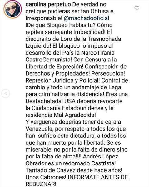 """Carolina Perpetuo llamó """"malagradecida"""" a Alicia Machado"""