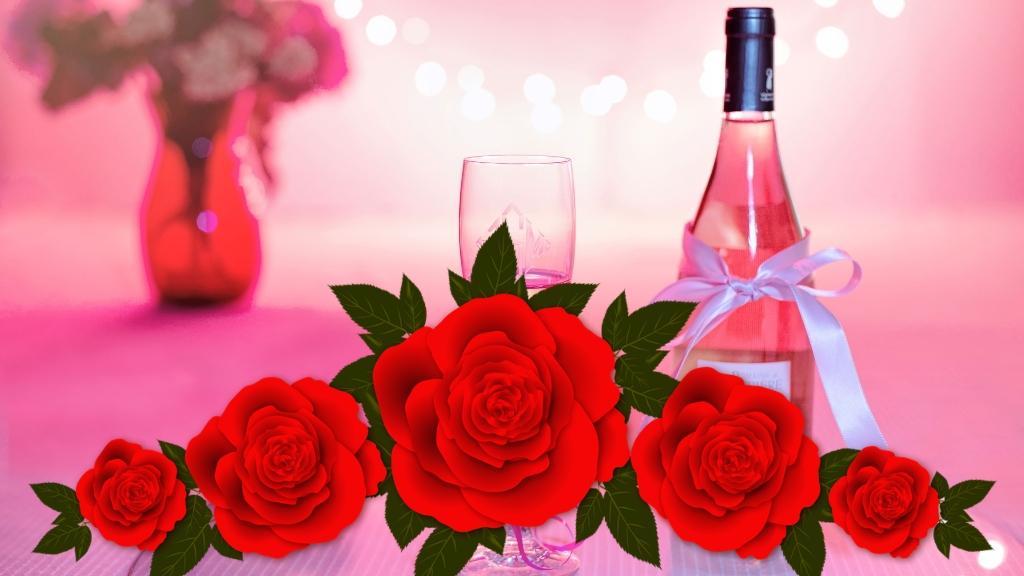Champagne y rosas